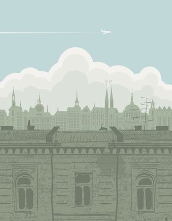 silueta de gato: vector landscape with the roofs of the old town, a plane in the sky and clouds in retro style