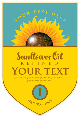 Label for refined sunflower oil with sunflower and description Illustration