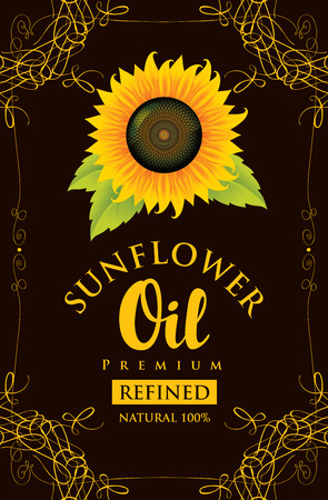 cooking oil: vector label for refined sunflower oil with sunflower and the inscription on black background in curly frame Illustration