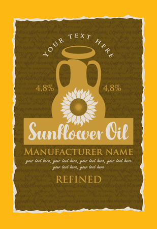 sunflower seeds: vector label for refined sunflower oil with a jug, sunflower and the inscription on the background texture with handwriting