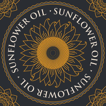 square vector banner for refined sunflower oil with sunflower inscribed in a round frame on a black background