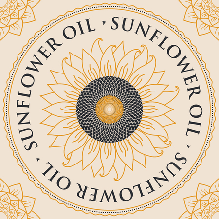 inscribed: square vector banner for refined sunflower oil with sunflower inscribed in a round frame on a light background Illustration
