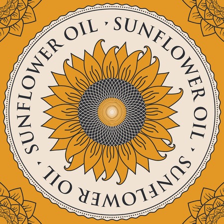 inscribed: square vector banner for refined sunflower oil with sunflower inscribed in a round frame on a yellow background Illustration