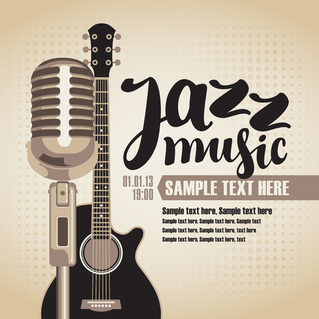 logo music: vector banner with an acoustic guitar and a microphone for the concert of jazz music on light background in retro style with inscription Illustration