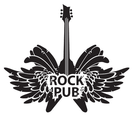 hard: vector illustration with an electric guitar, wings and feathers with words rock pub