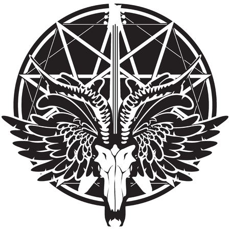 heavy: vector illustration with an electric guitar and skull of goat and wings on the background of satan star