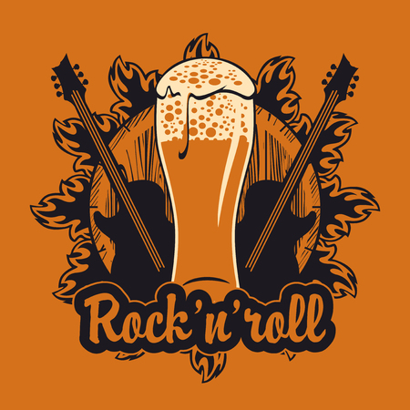 vector banner for the pub with live music.Illustration with a wooden keg, beer glass, guitars and inscription rock and roll in retro style