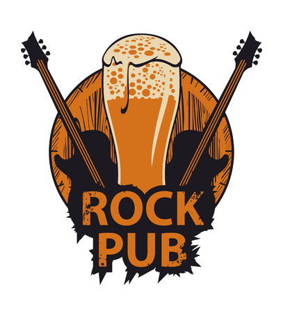 vector banner for the pub with live music.Illustration with a wooden keg, beer glass, guitars and words rock pub in retro style