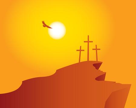 Vector banner voor Pasen met Golgota en drie kruisen tegen zonsondergang