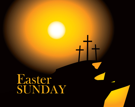 vector banner for easter with Calvary and three crosses against sunset with words Easter sunday Illustration