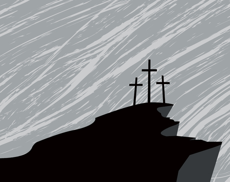 sinner: vector banner with silhouette mountain and three crosses on the background of dark rainy sky