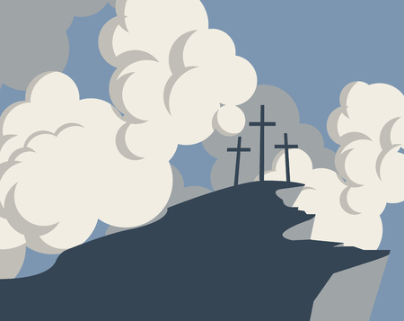 vector banner with silhouette mountain and three crosses on the background of sky with clouds Illustration