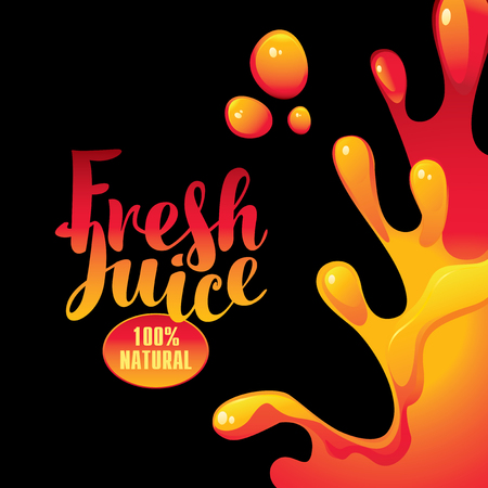 vector banner with the inscription fresh juice and drops and splashes on black background Illustration