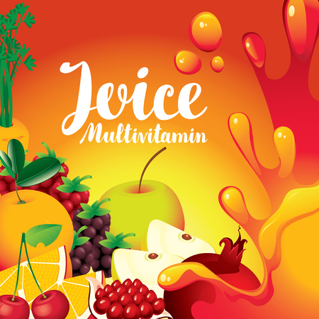 ripe: vector label for packaging of juice with different fruits and berries and inscription fresh juice multivitamin on orange background Illustration