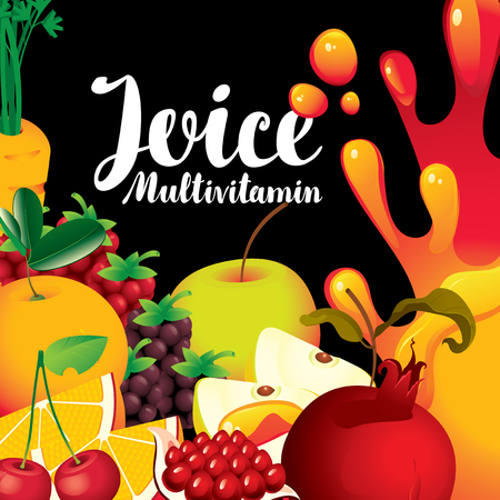 multivitamin: vector label for packaging of juice with different fruits and berries and inscription fresh juice multivitamin on black background