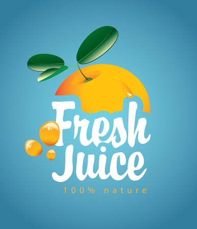 vector banner with orange fruit, juice drops and inscription fresh juice on blue background