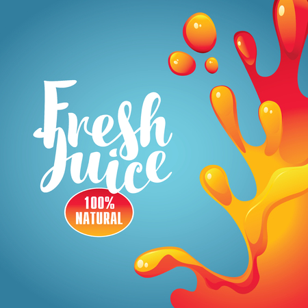 vector banner with the inscription fresh juice and drops and splashes on blue background