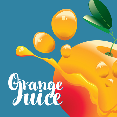 food: vector banner with orange fruit, juice drops and inscription orange juice on blue background