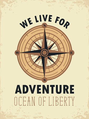 compass rose: travel vector banner with compass, Rose of Wind and the words we live for adventure on old paper background