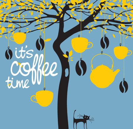 hung: Vector banner for a coffee house with a picture of a tree on which are hung cups, a teapot, coffee beans and with an inscription it is coffee time