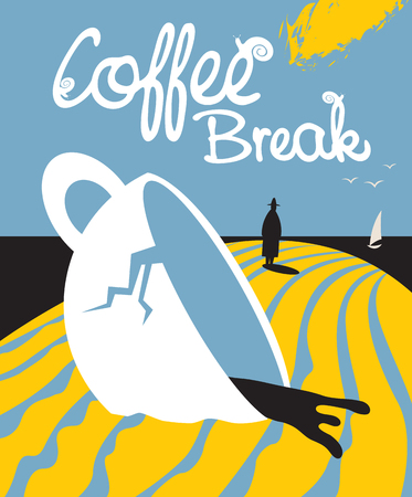 The plot of a broken coffee Cup and going into the distance a man near the sea with birds and a sailboat. The inscription coffee break with snails on the letters