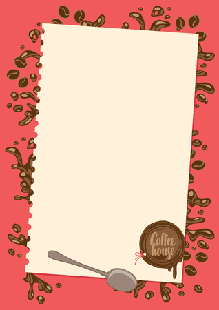 vector menu for coffee house with sheet of paper, spoon and sealing wax on red background with coffee splashes in retro style