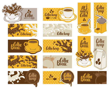 spot: set of banners on the theme of coffee with cup and saucer, coffee grinder, coffee splashes and spots in retro style with inscriptions Illustration