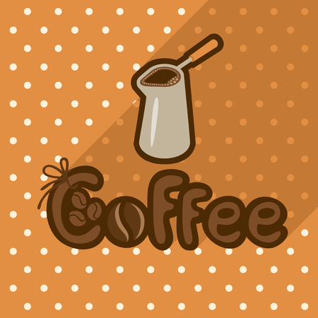 Vector poster in flat style with coffee in cezve on the background of the tablecloth with polka dots. Template for flyers, banners, invitations, brochures and covers.