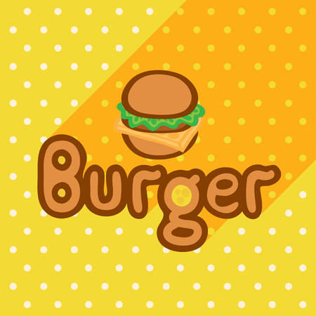 Vector poster in flat style with burger on the background of the yellow tablecloth with polka dots. Template for flyers, banners, invitations, brochures and covers.