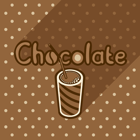 shop sign: Vector poster in flat style with glass of chocolate on the background of the brown tablecloth with polka dots. Template for flyers, banners, invitations, brochures and covers.