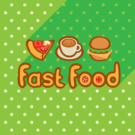 Fast food on the background of the green tablecloth with polka dots. Pizza, coffee, burger logos flat style design. Vector template for flyers, banners, invitations, brochures and covers.
