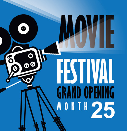Vector movie festival poster with old fashioned movie camera. Cinema background with words grand opening. Illustration