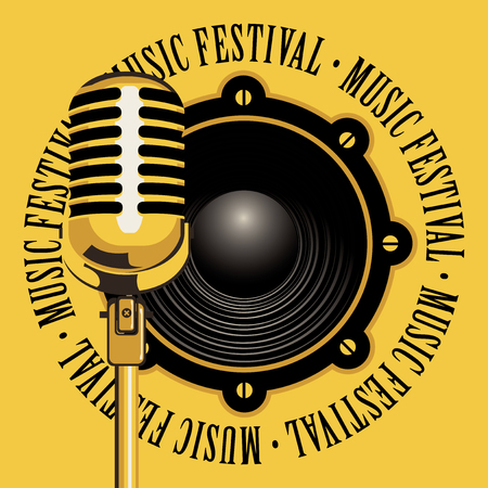 logo music: vector banner with acoustic speaker, microphone and the words music festival, written around on yellow background