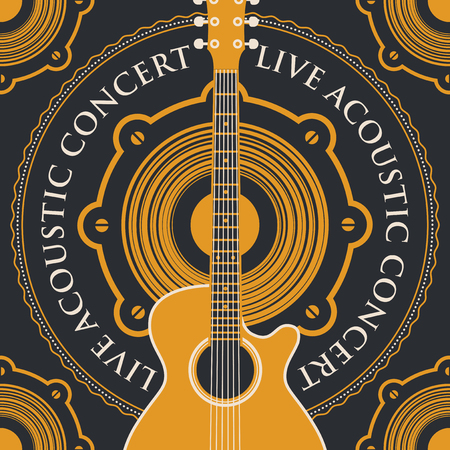 logo music: vector banner with an acoustic loudspeaker, guitar and the words live acoustic concert, written around on black background Illustration
