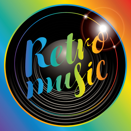 Vector poster for the retro music with vinyl record and multicolor lettering on the background rainbow color