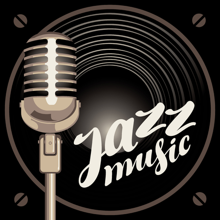round logo: vector banner with acoustic speaker, microphone and the inscription jazz music Illustration