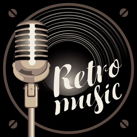 round logo: vector banner with acoustic speaker, microphone and the inscription retro music Illustration