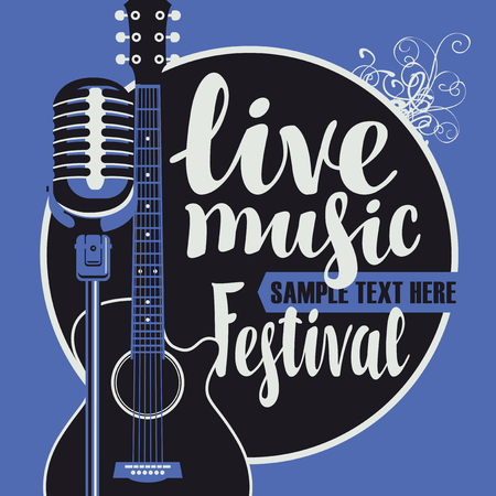Vector poster for a live music festival with a microphone, acoustic guitar and inscription in retro style on blue background. Template for flyers, banners, invitations, brochures and covers.