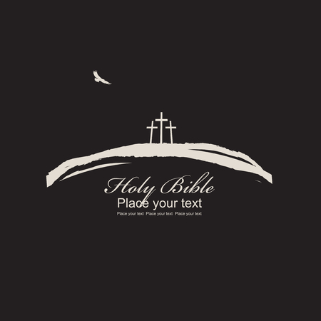 crosses: Vector illustration on Christian theme. Mount Calvary with three crosses, bird and inscription Holy Bible on black background Illustration