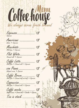 texture: vector menu with price list, old coffee mill and inscriptions coffee house on the background of manuscript with splashes and stains in retro style Illustration