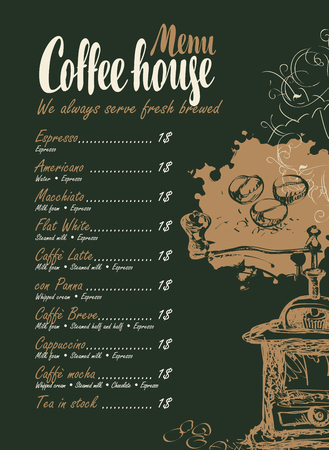 tea hot drink: vector menu with price list, coffee grinder and inscriptions coffee house on the black background in retro style