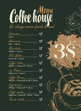 coffee beans: vector menu with price list, cup of coffee and inscriptions coffee house on the black background with splashes and stains in retro style