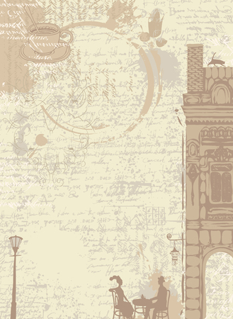 city lights: background texture with drops of coffee with drawings of houses in the old town and couple