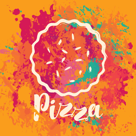 Vector banner with a pizza and the inscription pizza on an abstract background with colorful splashes