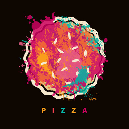 customer: Vector banner with abstract image of pizza in the form of colorful spots and splashes and the inscription pizza on the black background