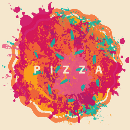 Vector banner with abstract image of pizza in the form of colorful spots and splashes and the inscription pizza