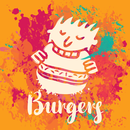 spot: Vector banner with the little man who eats burger and inscription burgers on the abstract background of colorful splashes and stains