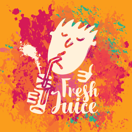 Vector banner with the little man who drinking fresh juice from a glass through a straw and inscription on the abstract background of colorful splashes