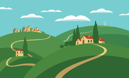 Vector illustration rural European village scene. Landscape with hills, roads, settlements and sky with clouds in flat style Illustration