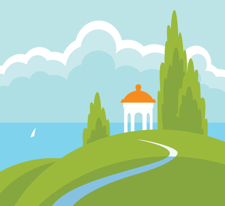 Spring landscape with a gazebo on the hill above the water. Vector illustration with hills, road, sea, sailboat and sky with clouds in flat style. Illustration
